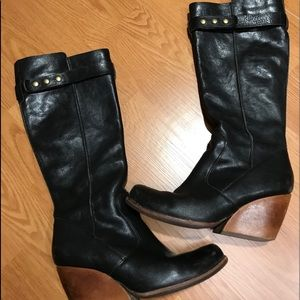 Kork-Ease tall black wedge boots.